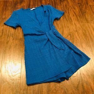 Zara Cobalt blue wrap style romper textured cotton
